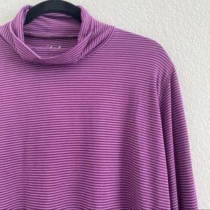 Woolrich Womens Purple Long Sleeve Stripe Turtleneck Shirt Size XXL